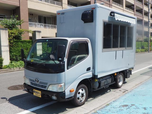 トヨタ ダイナ 移動販売車 キッチンカー 8NO加工車 大型タープ 冷蔵庫 棚 コンセント 換気扇 シンク 外部電源 ブレーカー 作業台 収納式階段